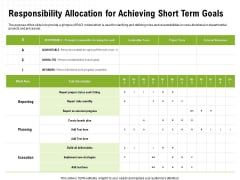 Strategic Growth Technique Responsibility Allocation For Achieving Short Term Goals Ppt Diagram Graph Charts PDF