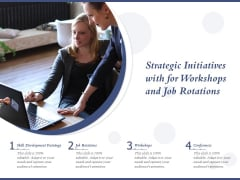 Strategic Initiatives With For Workshops And Job Rotations Ppt PowerPoint Presentation Ideas Gallery PDF