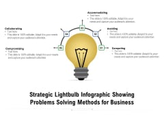 Strategic Lightbulb Infographic Showing Problems Solving Methods For Business Ppt PowerPoint Presentation Professional Display PDF