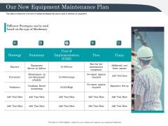 Strategic Management Of Assets Our New Equipment Maintenance Plan Clipart PDF