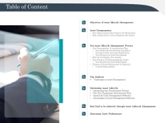 Strategic Management Of Assets Table Of Content Formats PDF