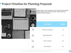 Strategic Management Project Timeline For Planning Proposal Ppt Infographics Slides PDF