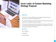 Strategic Marketing Approach Cover Letter Of Content Marketing Strategy Proposal Mockup PDF