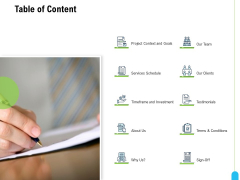 Strategic Marketing Approach Table Of Content Ppt File Outline PDF