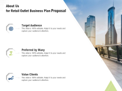 Strategic Plan Retail Store About Us For Retail Outlet Business Plan Proposal Template PDF