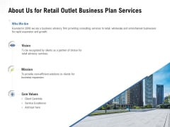 Strategic Plan Retail Store About Us For Retail Outlet Business Plan Services Information PDF