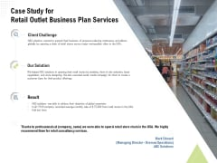 Strategic Plan Retail Store Case Study For Retail Outlet Business Plan Services Ppt Summary Slides PDF