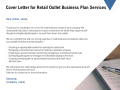 Strategic Plan Retail Store Cover Letter For Retail Outlet Business Plan Services Ppt Layouts Tips PDF