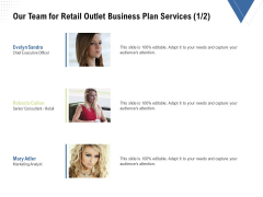 Strategic Plan Retail Store Our Team For Retail Outlet Business Plan Services Ppt Ideas Inspiration PDF