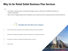 Strategic Plan Retail Store Why Us For Retail Outlet Business Plan Services Ppt Inspiration Designs PDF