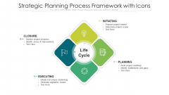 Strategic Planning Process Framework With Icons Ppt PowerPoint Presentation File Design Templates PDF