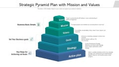 Strategic Pyramid Plan With Mission And Values Ppt Show Format Ideas PDF
