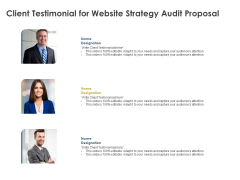 Strategic SEO Audit Client Testimonial For Website Strategy Audit Proposal Guidelines PDF
