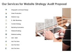 Strategic SEO Audit Our Services For Website Strategy Audit Proposal Graphics PDF