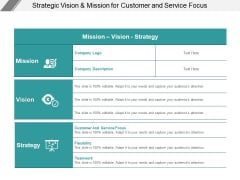 Strategic Vision And Mission For Customer And Service Focus Ppt PowerPoint Presentation Gallery Guide
