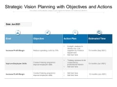 Strategic Vision Planning With Objectives And Actions Ppt PowerPoint Presentation Gallery Brochure PDF