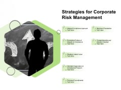 Strategies For Corporate Risk Management Ppt PowerPoint Presentation Gallery Outfit PDF