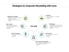 Strategies For Corporate Storytelling With Icons Ppt PowerPoint Presentation Infographics Background