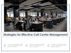 Strategies For Effective Call Center Management Ppt PowerPoint Presentation Show Graphics Template