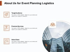 Strategies For Organizing Events About Us For Event Planning Logistics Ppt PowerPoint Presentation Icon Rules PDF