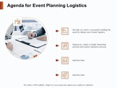 Strategies For Organizing Events Agenda For Event Planning Logistics Ppt PowerPoint Presentation Summary Demonstration PDF