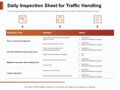 Strategies For Organizing Events Daily Inspection Sheet For Traffic Handling Ppt PowerPoint Presentation Outline Deck PDF