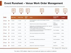 Strategies For Organizing Events Event Runsheet Venue Work Order Management Ppt Gallery Styles PDF