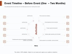 Strategies For Organizing Events Event Timeline Before Event One Two Months Ppt Portfolio Slide Portrait PDF