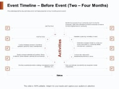 Strategies For Organizing Events Event Timeline Before Event Two Four Months Ppt File Gridlines PDF