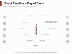 Strategies For Organizing Events Event Timeline Day Of Event Ppt Inspiration Outline PDF