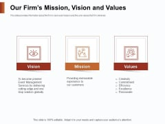 Strategies For Organizing Events Our Firms Mission Vision And Values Ppt Styles Example PDF
