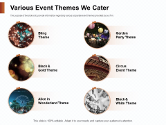 Strategies For Organizing Events Various Event Themes We Cater Ppt PowerPoint Presentation Summary Slideshow PDF