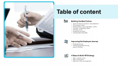 Strategies Improving Corporate Culture Table Of Content Introduction PDF