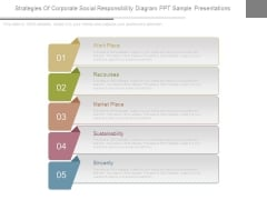 Strategies Of Corporate Social Responsibility Diagram Ppt Sample Presentations