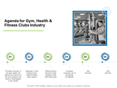 Strategies To Enter Physical Fitness Club Business Agenda For Gym Health And Fitness Clubs Industry Professional PDF