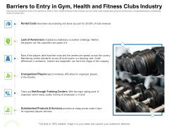 Strategies To Enter Physical Fitness Club Business Barriers To Entry In Gym Health And Fitness Clubs Industry Guidelines PDF