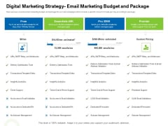 Strategies To Enter Physical Fitness Club Business Digital Marketing Strategy Email Marketing Budget And Package Information PDF