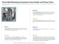 Strategies To Enter Physical Fitness Club Business Direct Mail Marketing Campaign For Gym Health And Fitness Clubs Themes PDF