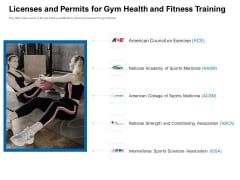 Strategies To Enter Physical Fitness Club Business Licenses And Permits For Gym Health And Fitness Training Icons PDF