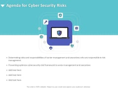 Strategies To Mitigate Cyber Security Risks Agenda For Cyber Security Risks Ppt Infographics Graphics Design PDF