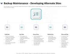 Strategies To Mitigate Cyber Security Risks Backup Maintenance Developing Alternate Sites Ppt Templates PDF