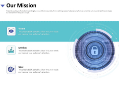 Strategies To Mitigate Cyber Security Risks Our Mission Ppt Model Shapes PDF