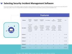 Strategies To Mitigate Cyber Security Risks Selecting Security Incident Management Software Ppt Styles Influencers PDF