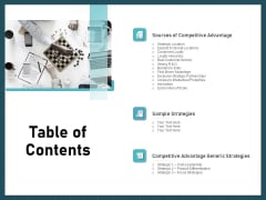 Strategies To Win Customers From Competitors Table Of Contents Download PDF
