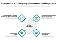 Strategies Used In Team Capacity Development Factors In Organization Ppt PowerPoint Presentation Styles Icon PDF