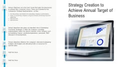 Strategy Creation To Achieve Annual Target Of Business Ppt Outline Ideas PDF