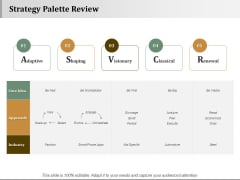 Strategy Palette Review Strategy Approaches Ppt PowerPoint Presentation Gallery Design Ideas