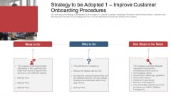 Strategy To Be Adopted 1 Improve Customer Onboarding Procedures Ppt Show Structure PDF