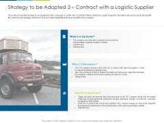 Strategy To Be Adopted 2 Contract With A Logistic Supplie Ppt Ideas Picture PDF