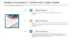 Strategy To Be Adopted 2 Contract With A Logistic Supplier Ppt Slides Design Ideas PDF